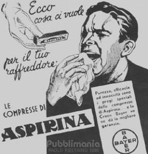 Una delle prime pubblicità dell'aspirina